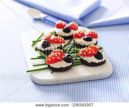 Fancy Ladybird Shaped Cheese Little Sandwiches Tartines For Kids.