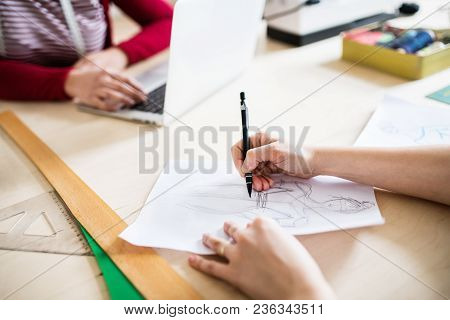Unrecognizable Young Creative Women Working In A Studio, Startup Business.