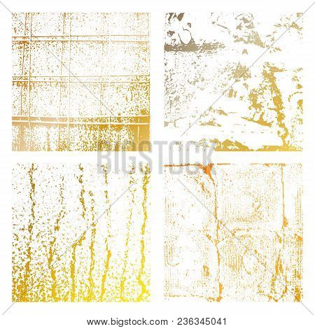 Set Grunge Gold Distress Texture. Wall Background.vector Illustration. Simply Place Illustration Ove