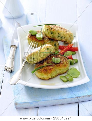 Crunchy Breaded Broad Bean Patties Shallow Fried Garnish With Fresh Broad Beans, Sweet Red Pepper An
