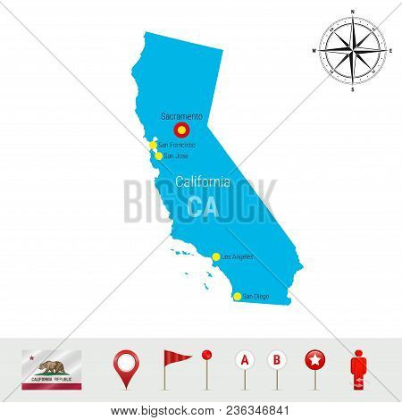 California Vector Map Isolated On White Background. Detailed Silhouette Of California State. Vector