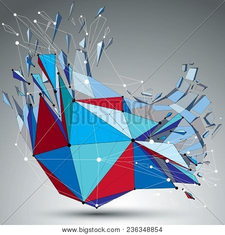 3d Vector Low Poly Deformed Object With Connected Black And White Lines And Dots, Colorful Geometric