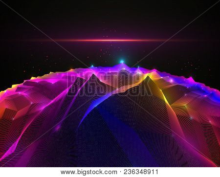 Fantastic Space Planet Terrain Vector Illustration, Cosmos Science Fiction Great 3d Design. Usable A