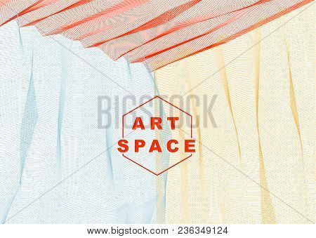 Abstract Linear Textured Vector Art Background For Design, Psycho Hypnotic Futuristic 3d Space Insid