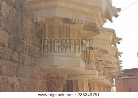 Sequential Historical Carving Work Of Rocks That Rises Through The Stones