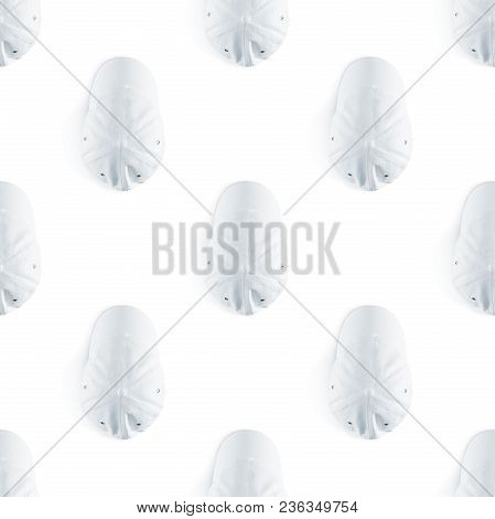 Blank White Baseball Cap Seamless Pattern Mock Up Top View. Empty Headdress Visors Ornamet Mockup. C