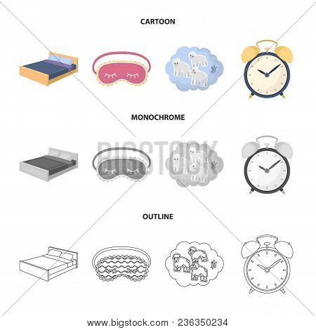 A Bed, A Blindfold, Counting Rams, An Alarm Clock. Rest And Sleep Set Collection Icons In Cartoon, O