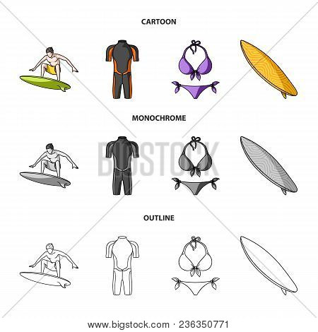 Surfer, Wetsuit, Bikini, Surfboard. Surfing Set Collection Icons In Cartoon, Outline, Monochrome Sty