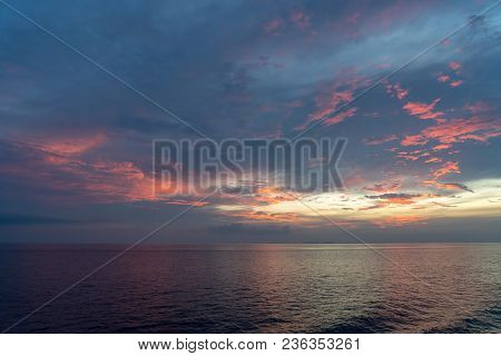 Sea In The Evening  Before Sunset Mixed With Red Blue And Gold Shade Color
