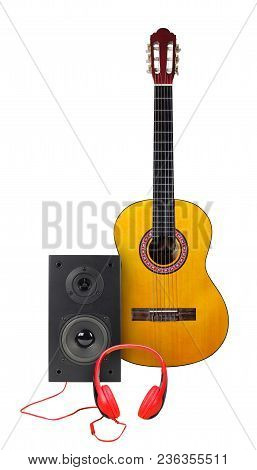 Music And Sound - Front View Classic Acoustic Guitar, Line Array Loudspeaker Enclosure Cabinet And R