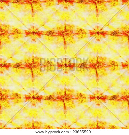 Seamless Tie-dye Pattern Of Yellow And Red Color On White Silk. Hand Painting Fabrics - Nodular Bati