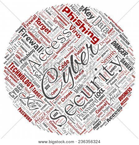 Conceptual cyber security online access technology round circle red word cloud isolated background. Collage of phishing, key virus, data attack, crime, firewall password, harm, spam protection