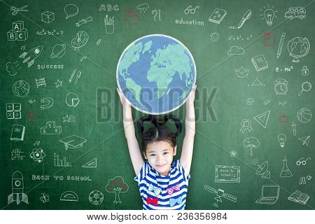 Educated School Kid Lifting World Globe Chalk Doodle Drawing On Green Chalkboard For Education Conce