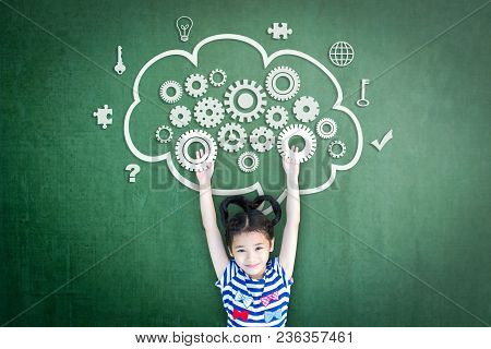 School Girl Kid Student With Cloud Computing Mind, Smart Brain Imagination Doodle On Chalkboard For