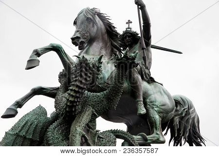 Berlin, Germany - April 16, 2017: View Of The St. George And The Dragon Statue On April 16, 2017 In