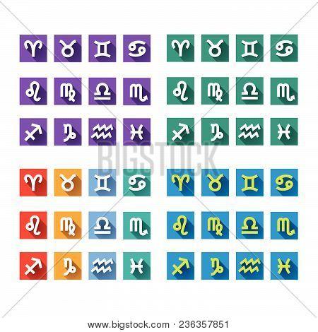 Cololr Zodiac Icons. Zodiac Icons. Zodiac Emblem.