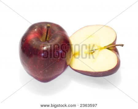 Solid And Half Of Red Apple 2