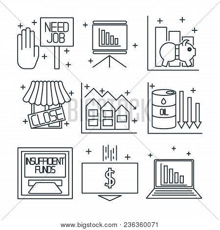 Set Icons On A Theme Of Economic Crisis. Vector