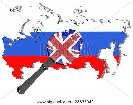 Judge Hammer, United Kingdom Sanctions Against Russia, Flag And Emblem. 3d Illustration. Isolated On