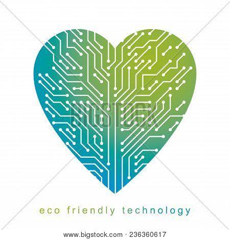 Art Vector Graphic Illustration Of Modern Digital Heart, Technology Innovation Abstract Design. Alte
