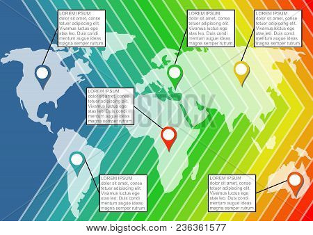 Infographic Template With Contours Of The Continents On Rainbow Abstract Background, Marker Elements