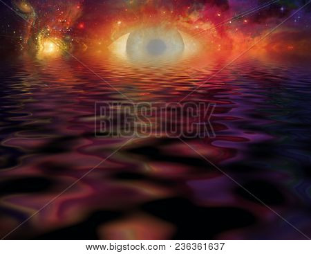 Mystical Eye and reflections. 3D rendering