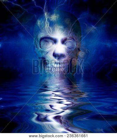 Human skull reflected in water. 3D rendering