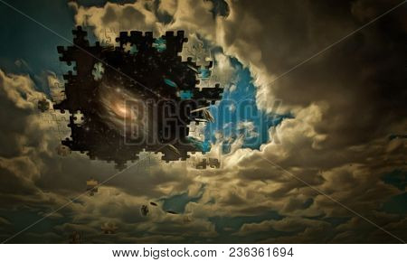 Surreal digital art. Clouds are falling apart on a pieces of puzzle. Galaxy in starry space. 3D rendering