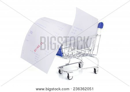 Shopping Cart With Receipt Isolated On White Background , Concept For Grocery Expenses And Consumeri