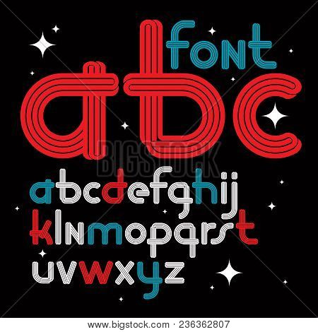 Set Of Vector Rounded Lower Case Funky English Alphabet Letters With Parallel Lines, Can Be Used As