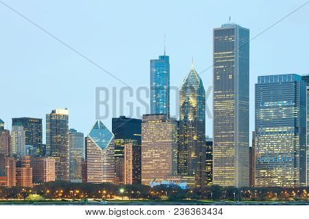 Downtown City Skyline Of Chicago At Night, Illinois, Usa