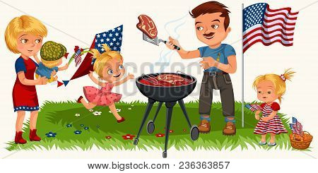Family Is Resting In The Park Or Garden, Dad Is Grilling Meat On The Grill, Mum Is Holding A Baby, G