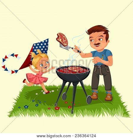 Family Resting In Park Or Garden, Dad Grilling Meat On Grill, Girls Play On Green Grass With Kite An