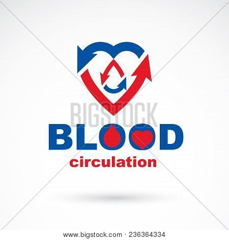 Vector Illustration Of Heart Shape Full Of Blood Composed With Arrows. Cardiovascular System Disease