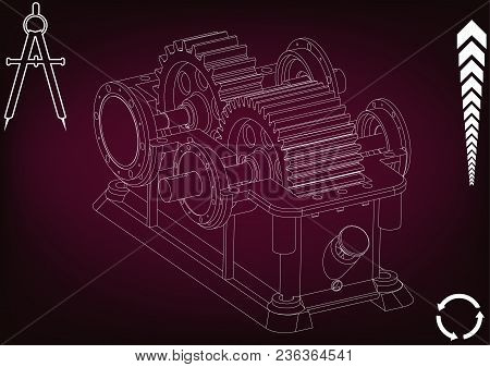 3d Model Of The Reducer On A Burgundy Background. Drawing