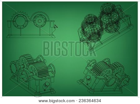 3d Model Of The Reducer On A Green Background. Drawing
