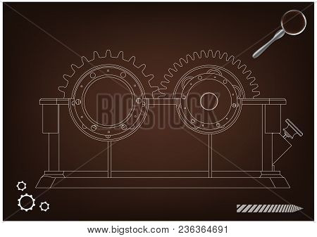 3d Model Of The Reducer On A Brown Background. Drawing