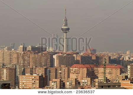 Madrid Skyline with communication tower