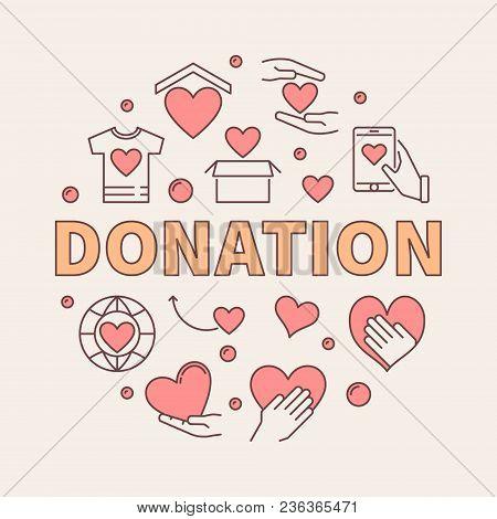 Donation Modern Colored Round Illustration. Donating Money Vector Circular Creative Sign