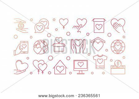 Red Charity And Fundraising Vector Concept Illustration Or Horizontal Banner In Outline Style On Whi