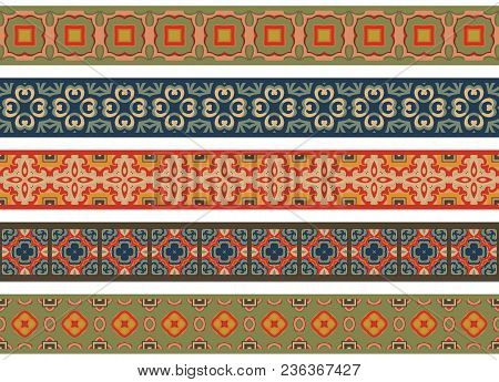 Set Of Five Illustrated Decorative Borders Made Of Abstract Elements In Beige, Green, Orange, Turqoi