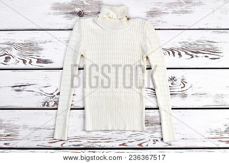 Boys Or Girls Turtleneck Sweater. Soft Warm White Knitted Sweater For Autumn Or Winter Wardrobe.