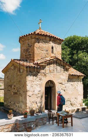 Mtskheta, Georgia. The Ancient Tiny Stone Church Of St. Nina At The Area Of Samtavro Monastery Compl