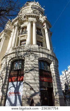 Madrid, Spain - January 23, 2018: Gran Via And Metropolis Building In City Of Madrid, Spain