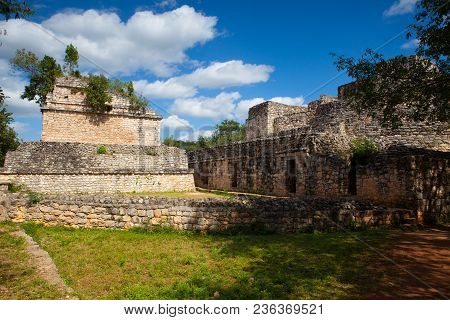 Majestic Ruins In Ek Balam. Ek Balam Is A Yucatec-maya Archaeological Site Within The Municipality O