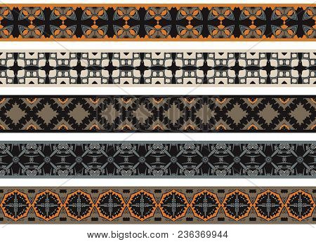 Set Of Five Illustrated Decorative Borders Made Of Abstract Elements In Beige, Orange, Gray, Brown A