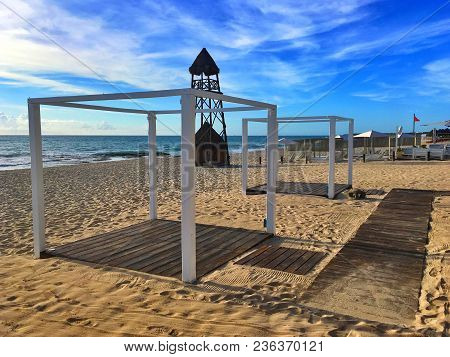 The Lifeguard Tower On The Beach Playa Paraiso At Caribbean Sea Of Mexico. This Resort Area Is Popul