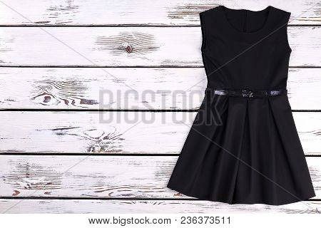 Cute Toddler Girls Black Dress. Beautiful High Quality Black Dress For Little Girls, Copy Space. Kne