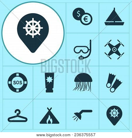 Tourism Icons Set With Jellyfish, Lifebuoy, Flippers And Other Bathroom Elements. Isolated Vector Il