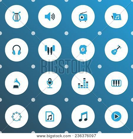 Multimedia Icons Colored Set With Octave, Earmuff, Start And Other Playlist Elements. Isolated Vecto